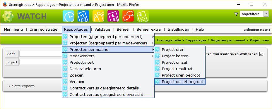 Projecten per maand menu
