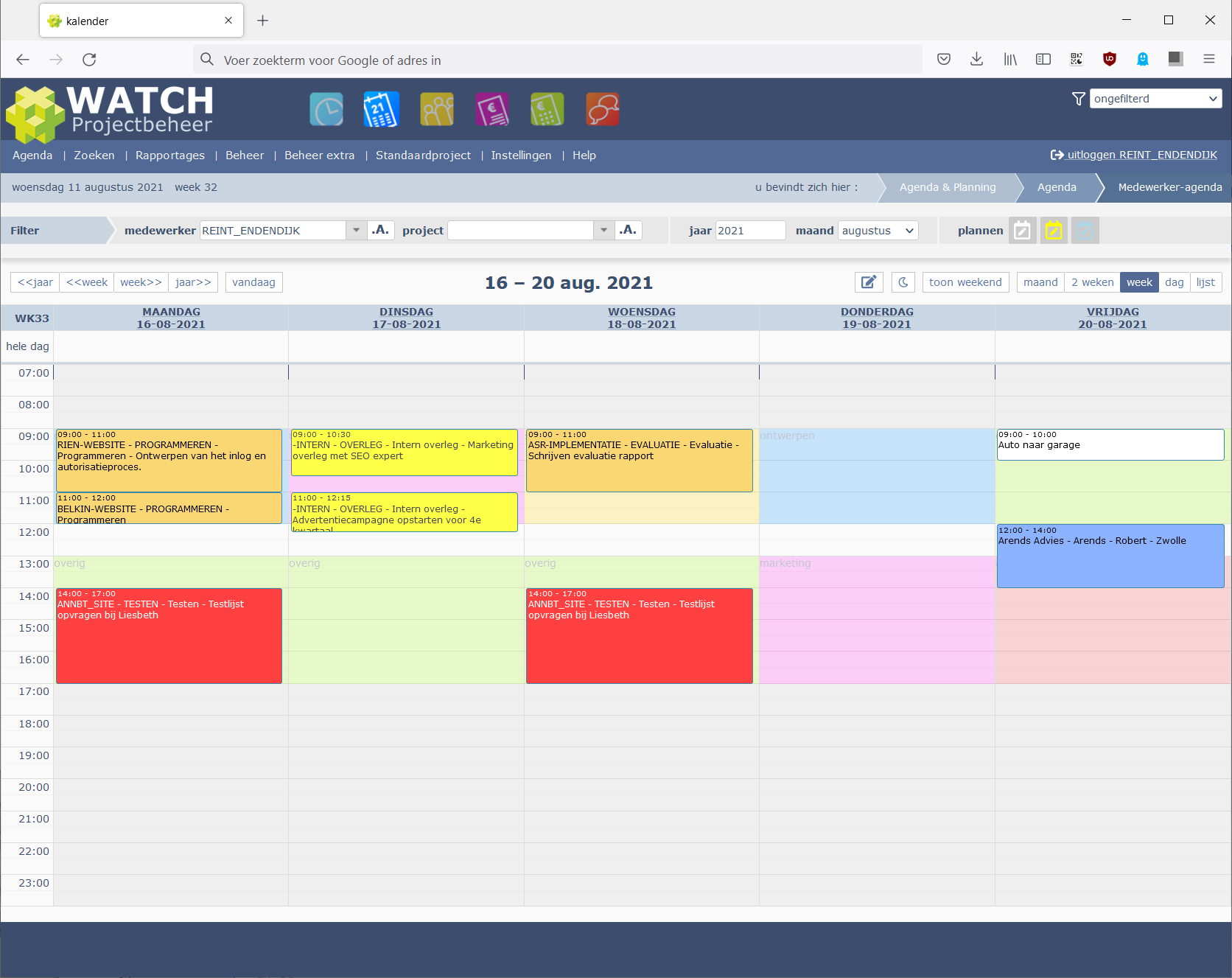 Agenda items en achtergrond items in medewerker-agenda