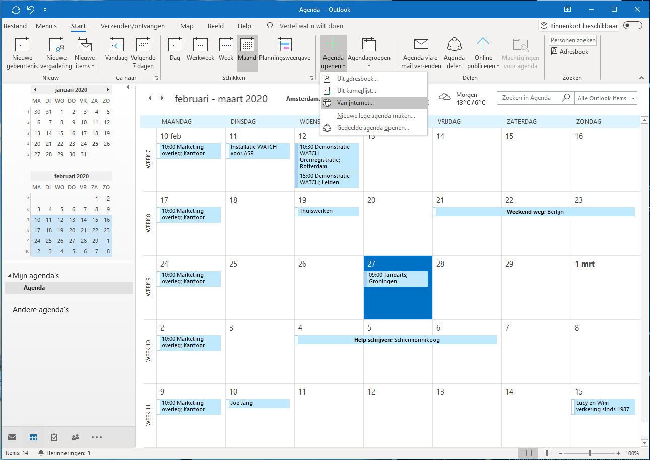 Outlook agenda openen