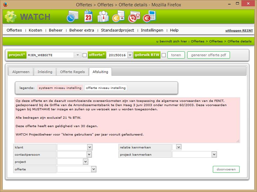 Offerte details scherm afsluiting tab