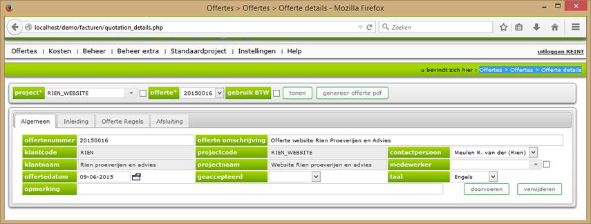 Offerte details scherm algemeen tab