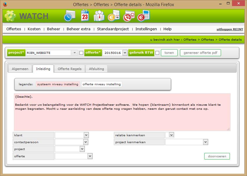 Offerte details scherm inleiding tab