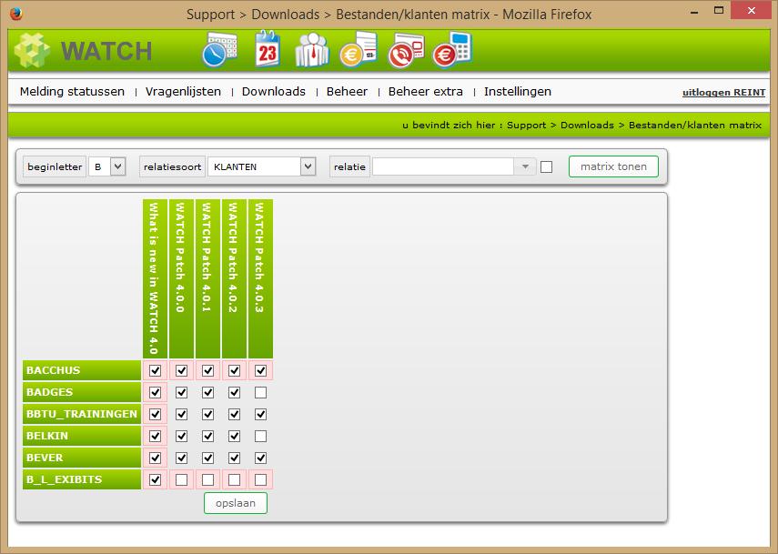 Download bestanden / klanten matrixscherm