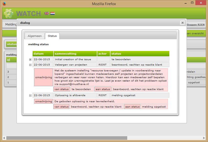 Melding detail scherm status tab