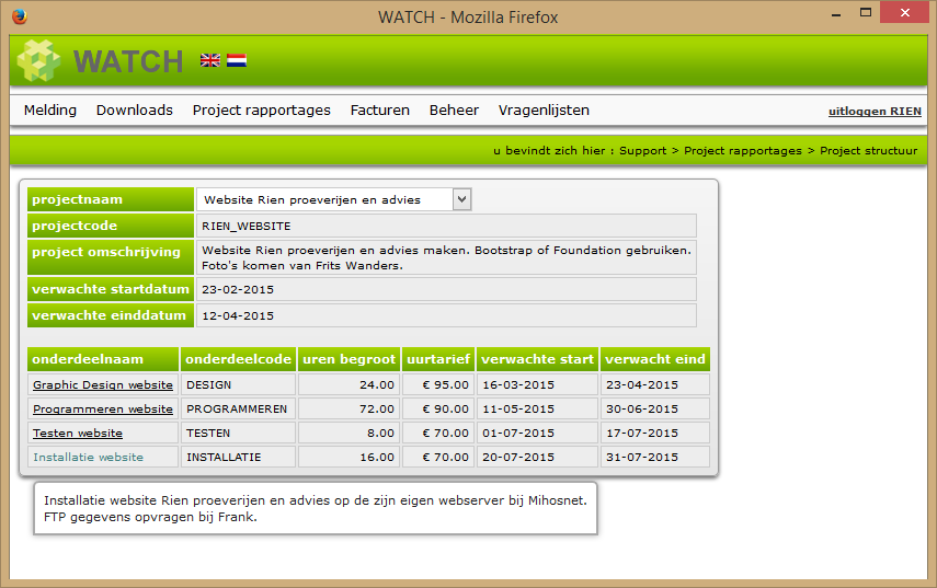 Project structuur rapportage