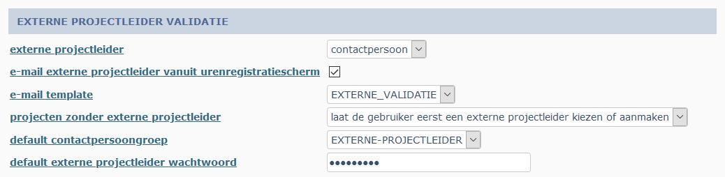 externe projectleider validatie instellingen