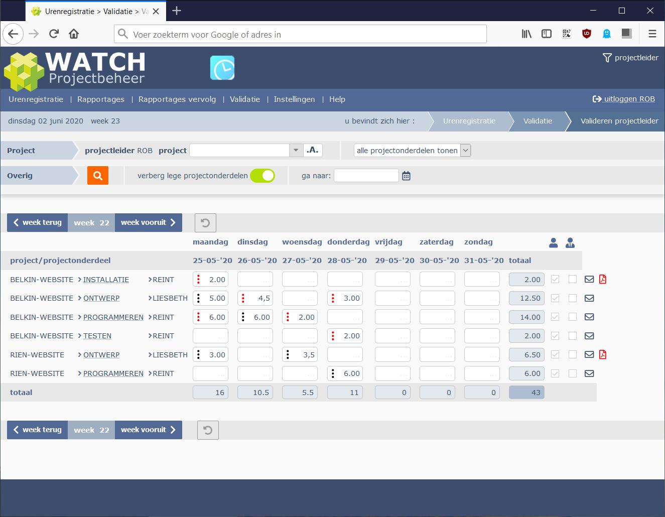 projectleider validatiescherm