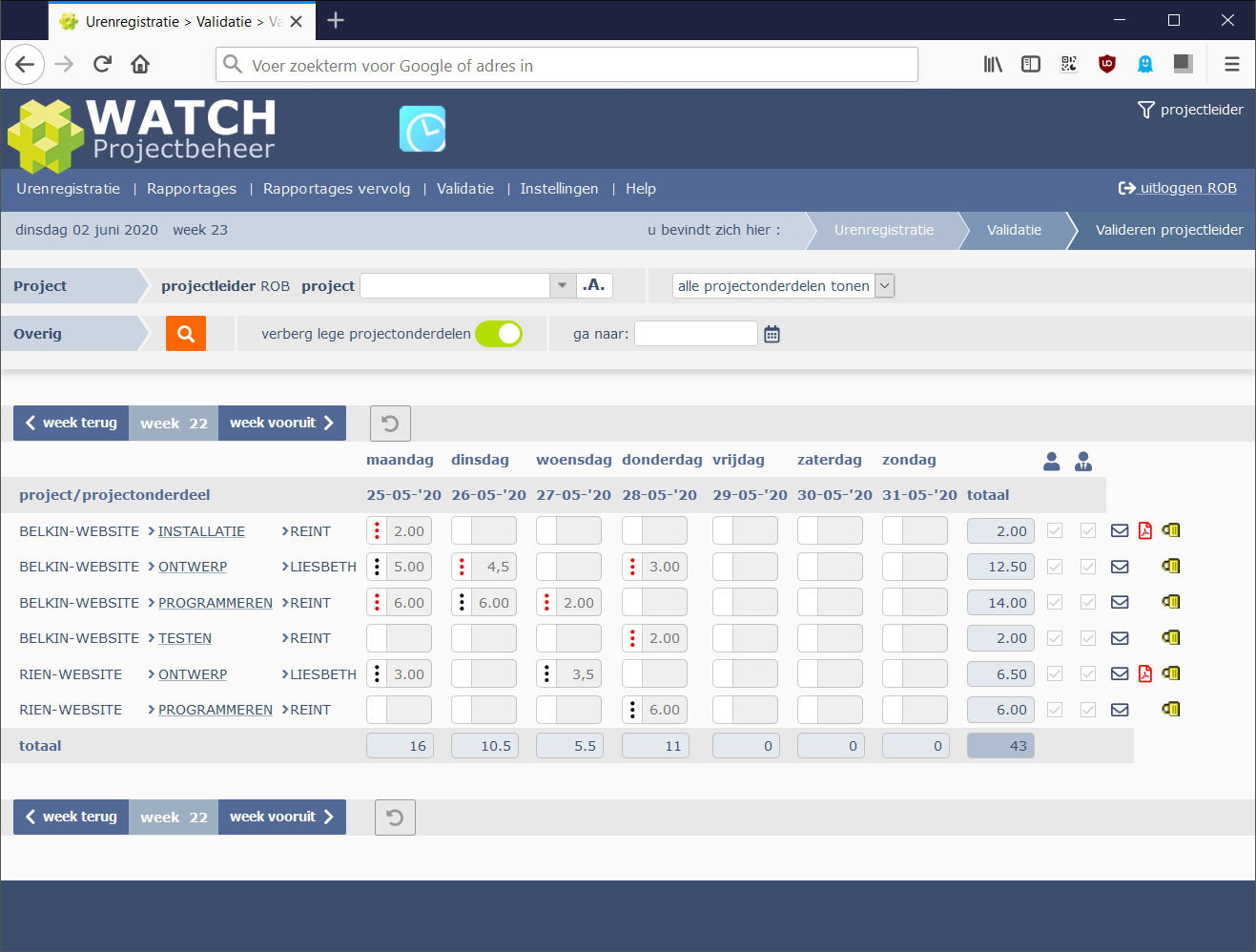 Status verwerkt in projectleider validatiescherm