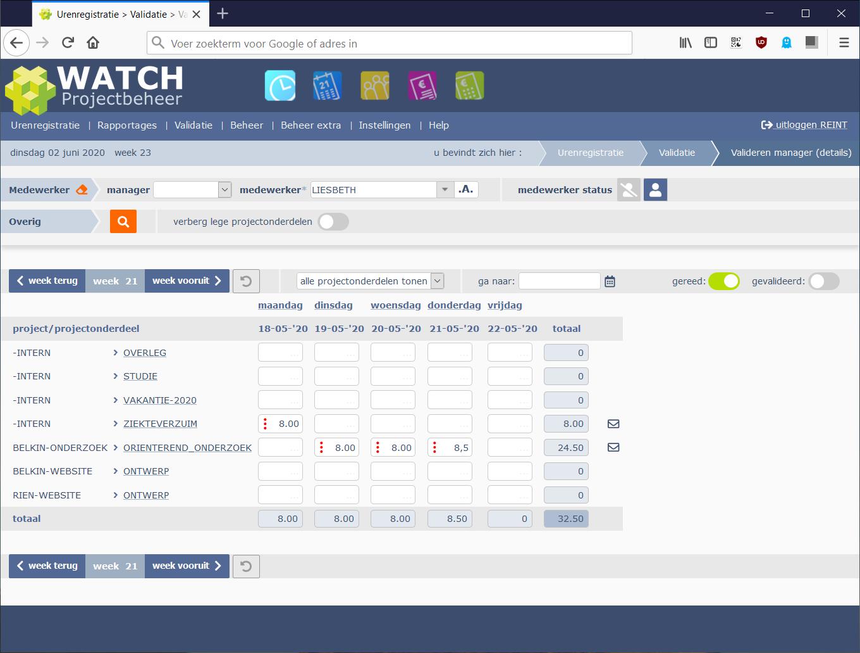 manager validatie scherm