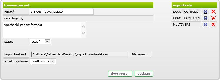 export set maken van voorbeeldbestand